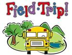 Illustration of a school bus on the road, with the words Field Trip! above it.