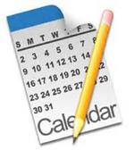 Illustration of a one month calendar and a pencil laying across it