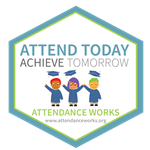 Illustration of three students with graduation caps with the words Attend Today Achieve Tomorrow. Attendance Works.