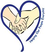 Helping Our People Everyday logo of hands clasping inside heart outline