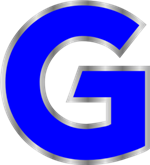 Illustration of a large blue letter G