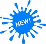 Illustration of the word NEW! inside a blue paint splatter