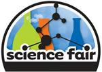 Science Fair logo featuring three beakers and connecting lines and dots