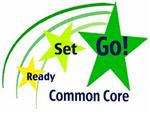 Illustration of three progressively bigger shooting stars with the words Ready Set Go Common Core