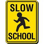 Illustration of sign with the words Slow. School. And a stick figure of a student running.