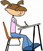 Illustration of an adolescent girl sitting at a school desk, writing