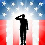 Illustration of a soldier saluting against a backdrop of an American flag