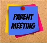 Art of parent meeting reminder pinned to a corkboard