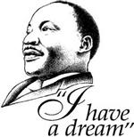 "Illustration of Civil Rights leader Martin Luther King Jr. with the words ""I have a dream."""