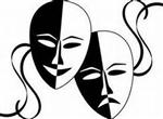 Illustration of theatre masks, representing happy and sad emotions
