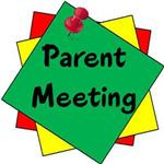 Illustration of red, yellow and green pieces of paper with a pushpin and the words Parent Meeting on the first piece of paper