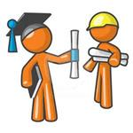 Illustration of stick figures, one a graduate and one an engineer