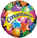 Illustration of a circle filled with colorful balloons and the word Congratulations