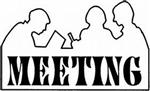 Artwork of the outline of people meeting, with the word MEETING inside