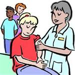 Cartoon of health technician helping a female student while a male and femal student wait in the background