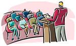 Illustration of man standing at podium while audience listens